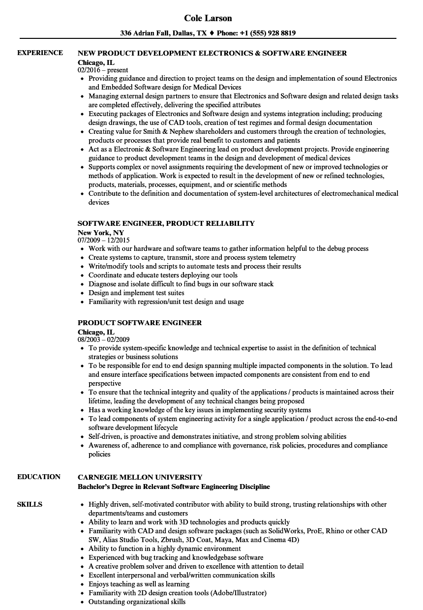 Product Software Engineer Resume Samples | Velvet Jobs