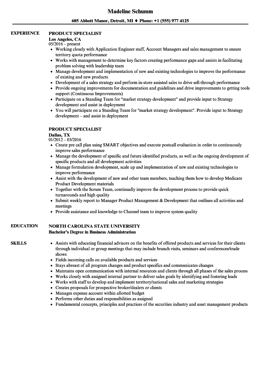 Product Specialist Resume Samples | Velvet Jobs