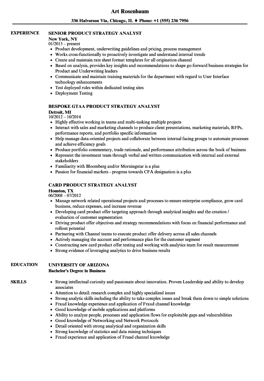 product  u0026 strategy analyst resume samples