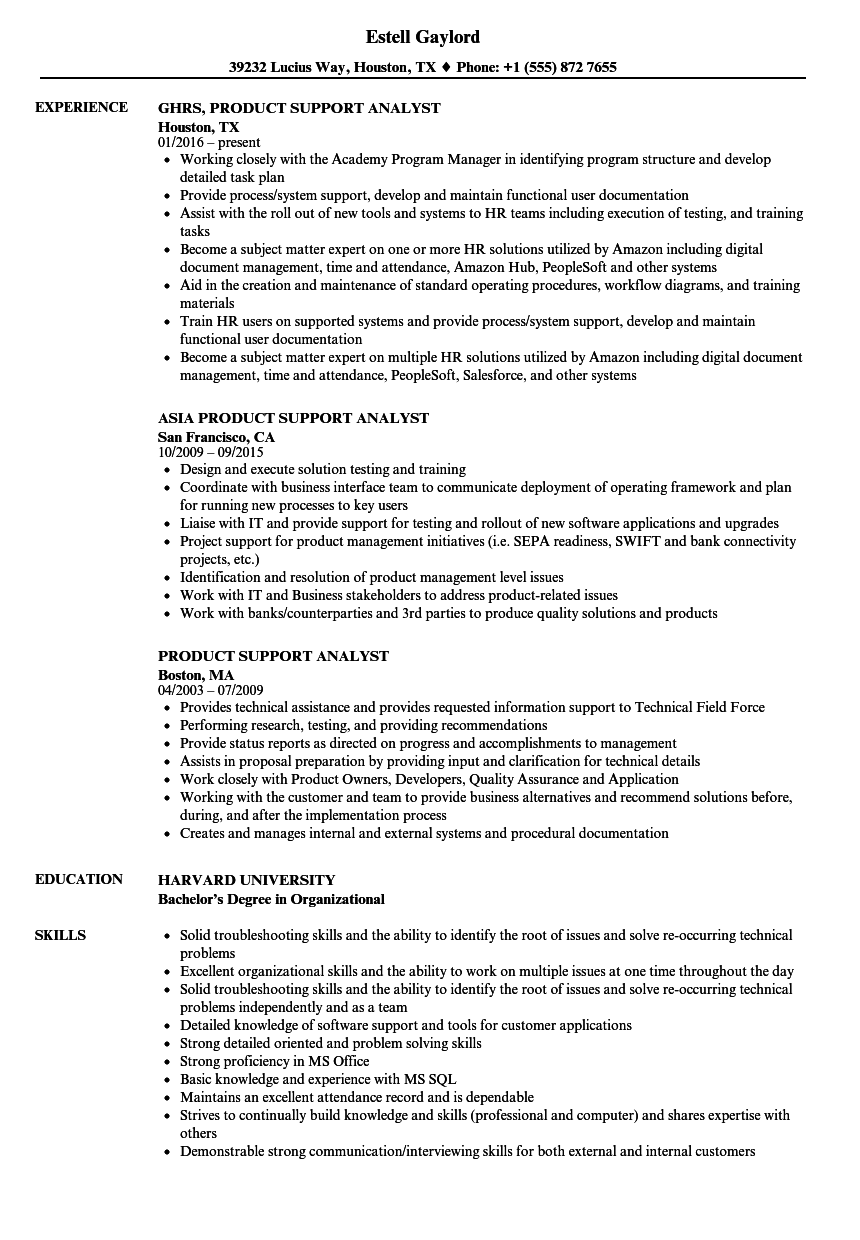 Product Support Analyst Resume Samples | Velvet Jobs