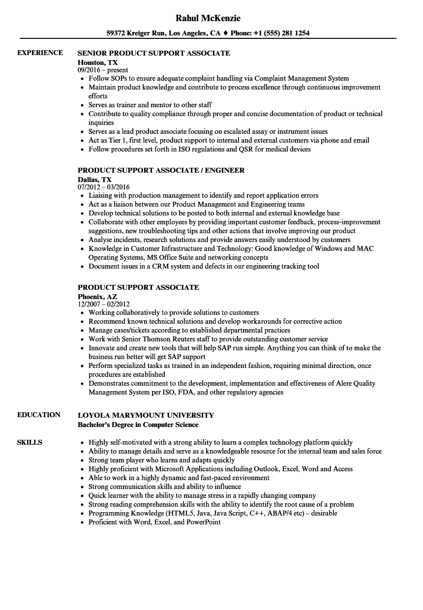 download product support associate resume sample as image file - Contractor Resume Sample