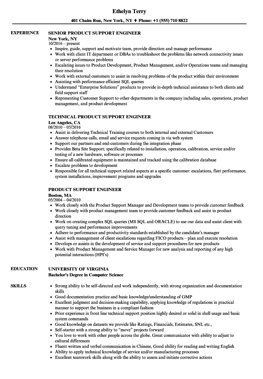 product support engineer resume samples