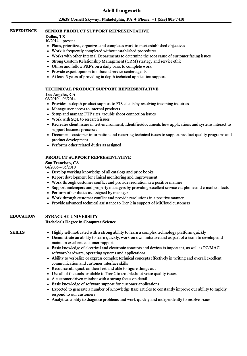 product support representative resume samples