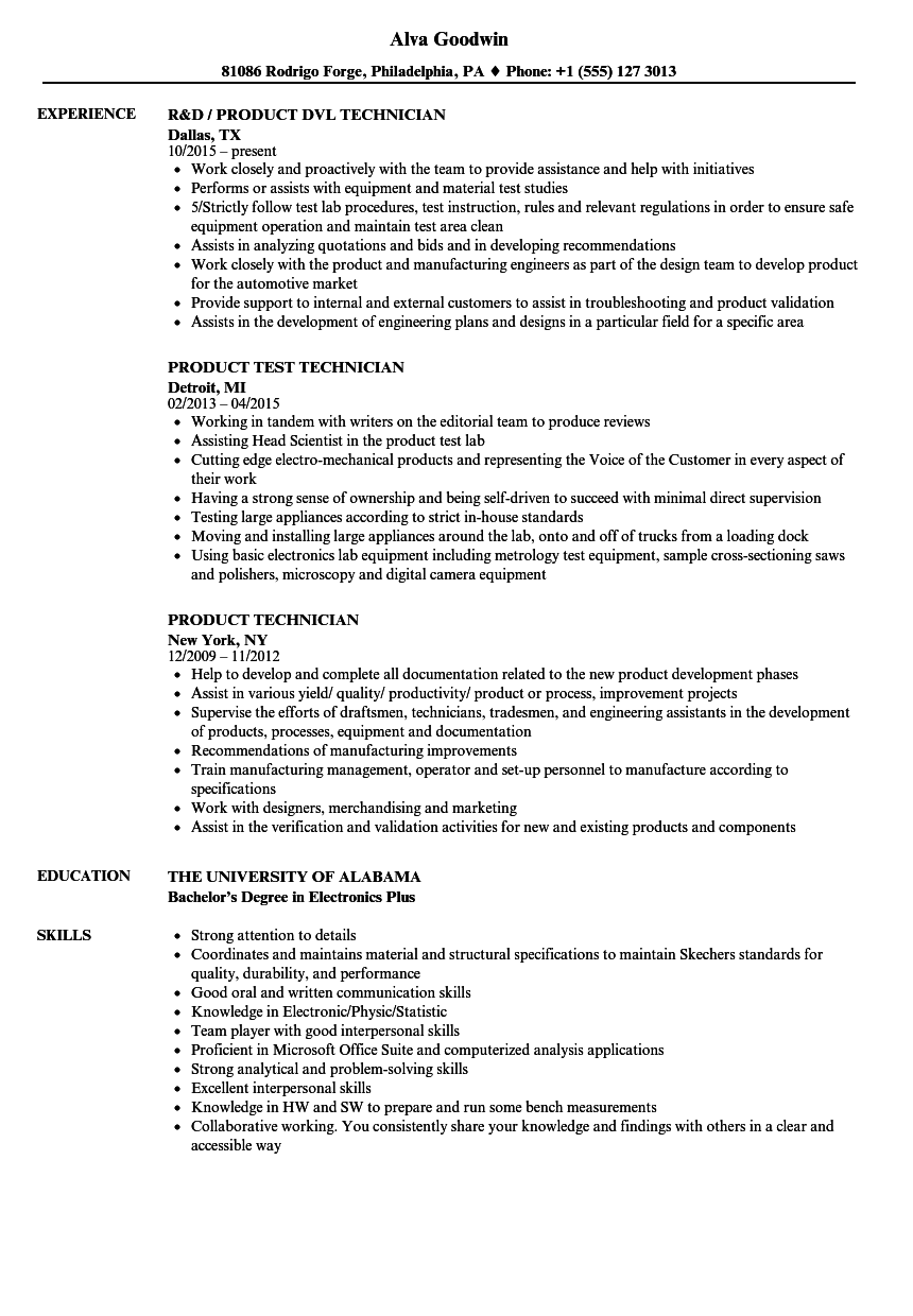 product technician resume samples