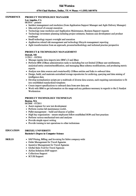 product technology resume samples velvet jobs