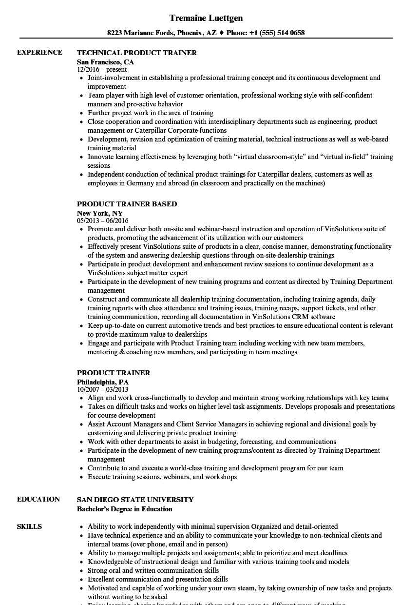 download product trainer resume sample as image file