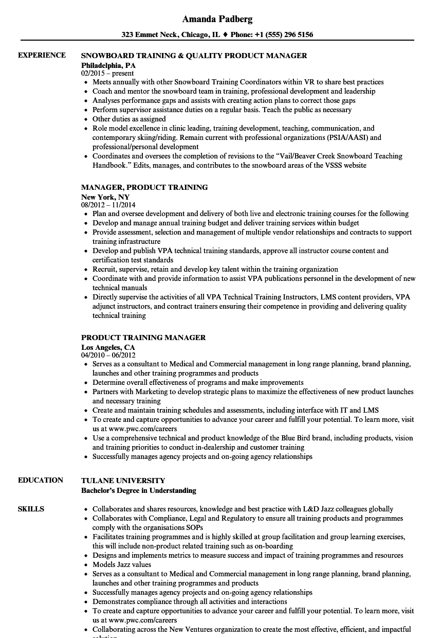 product training manager resume samples