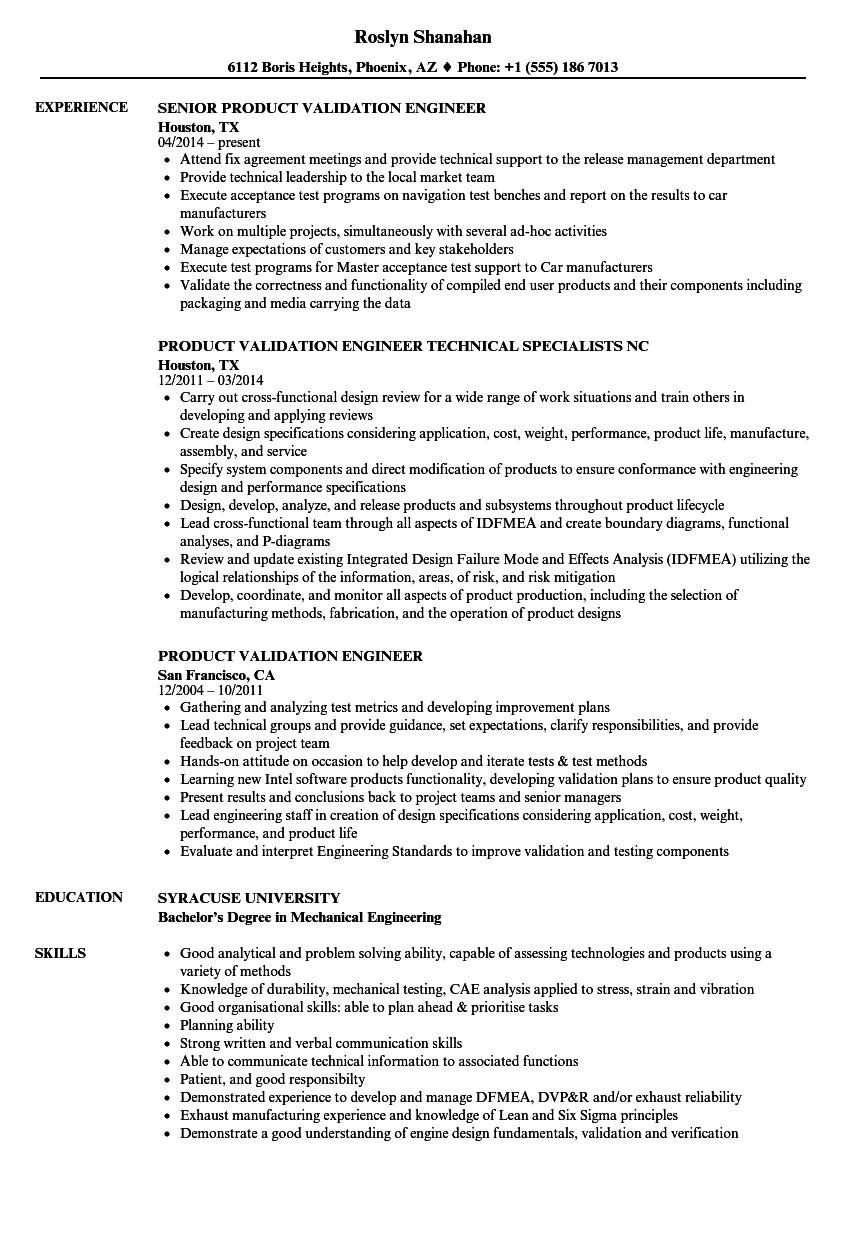 Product Validation Engineer Resume Samples Velvet Jobs