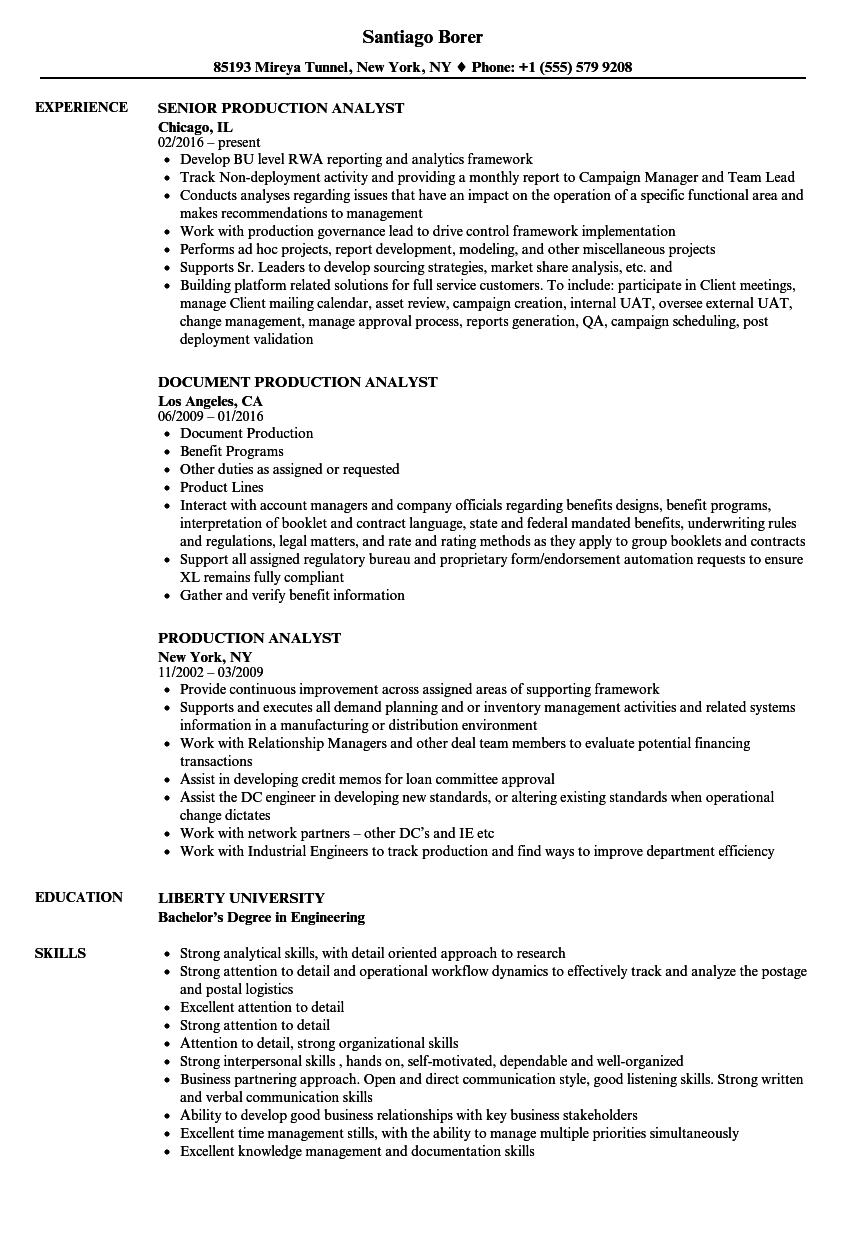 download production analyst resume sample as image file - Production Analyst Sample Resume