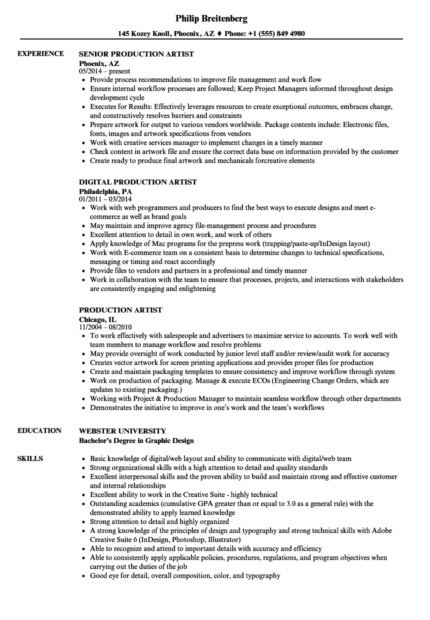 Production Artist Resume Samples Velvet Jobs