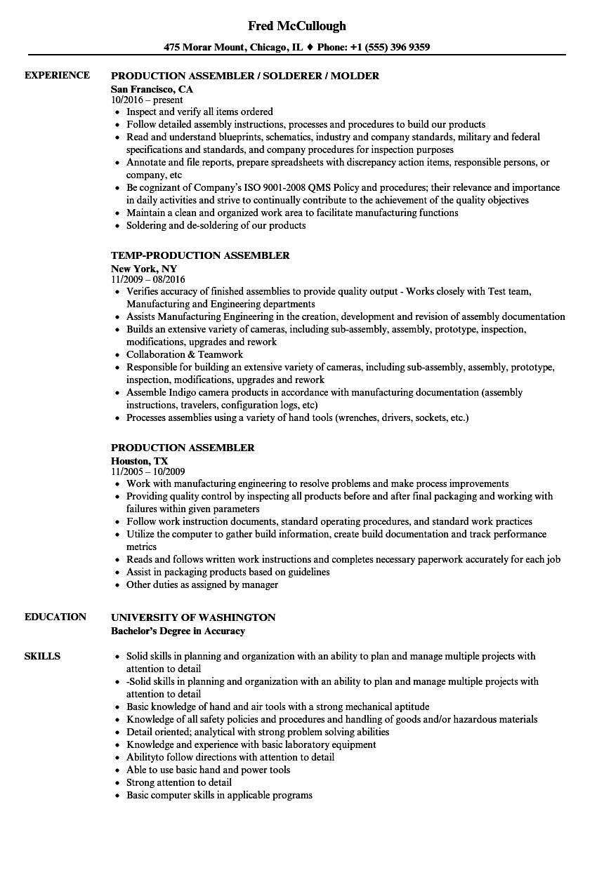 Download Production Assembler Resume Sample As Image File