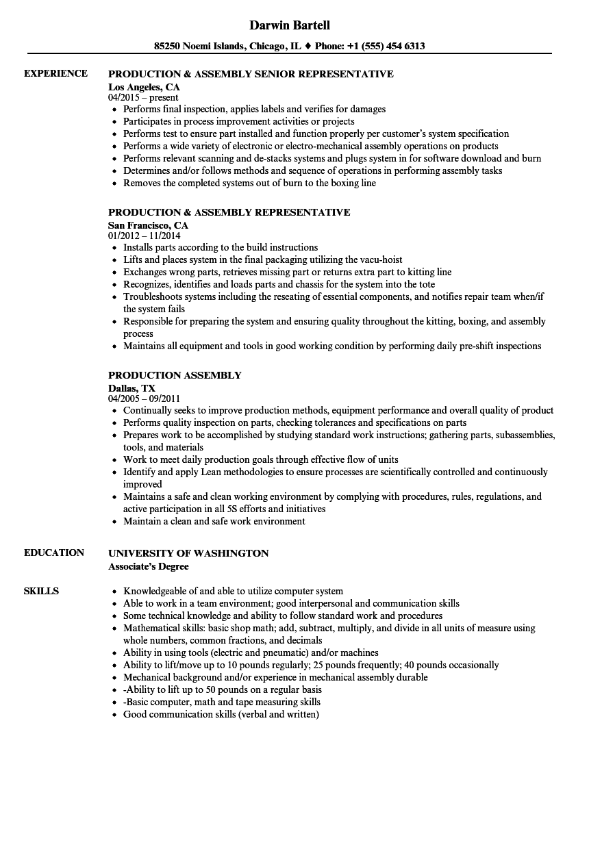 Production Assembly Resume Samples | Velvet Jobs
