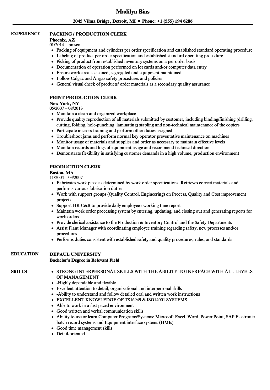 Production Clerk Resume Samples | Velvet Jobs