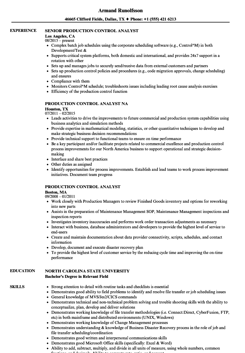 production control analyst resume samples