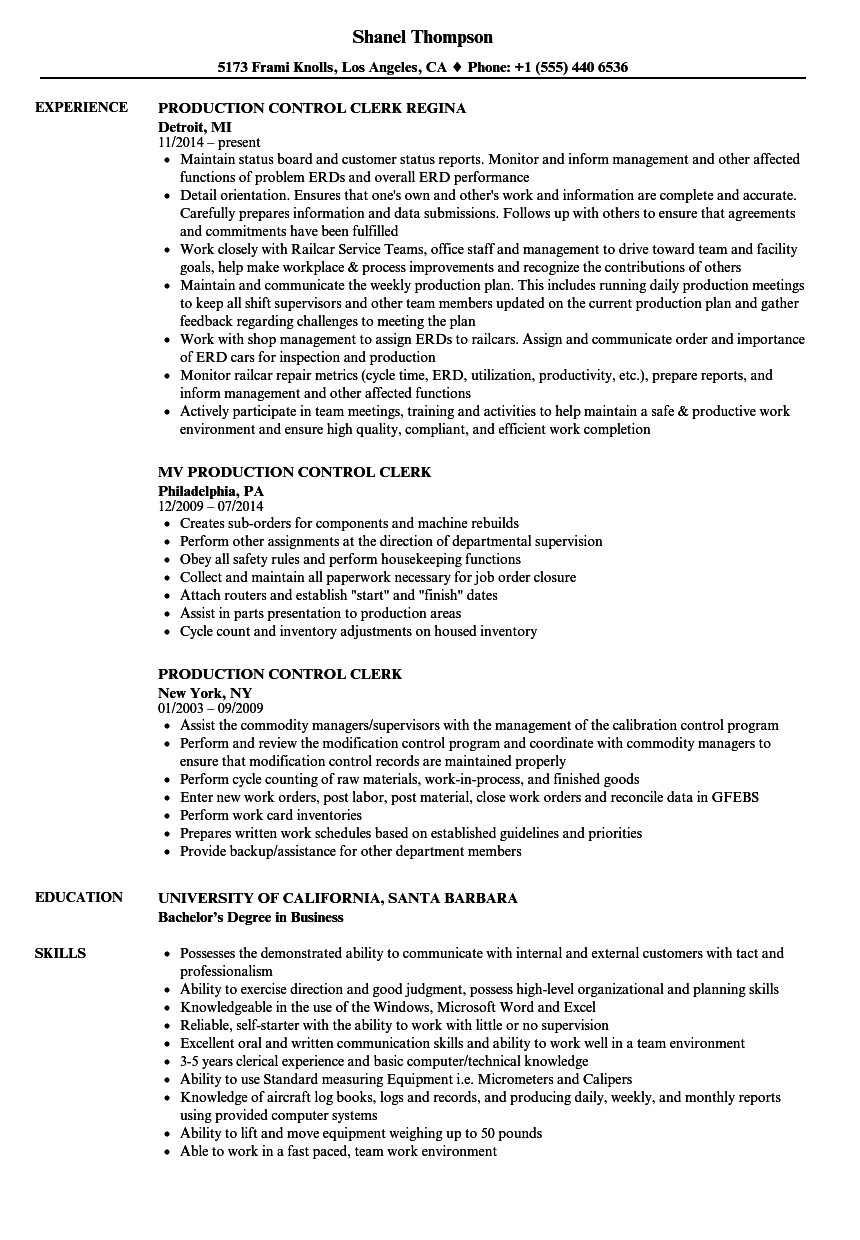 production control clerk resume samples
