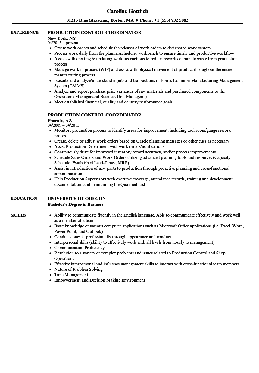 production control coordinator resume samples