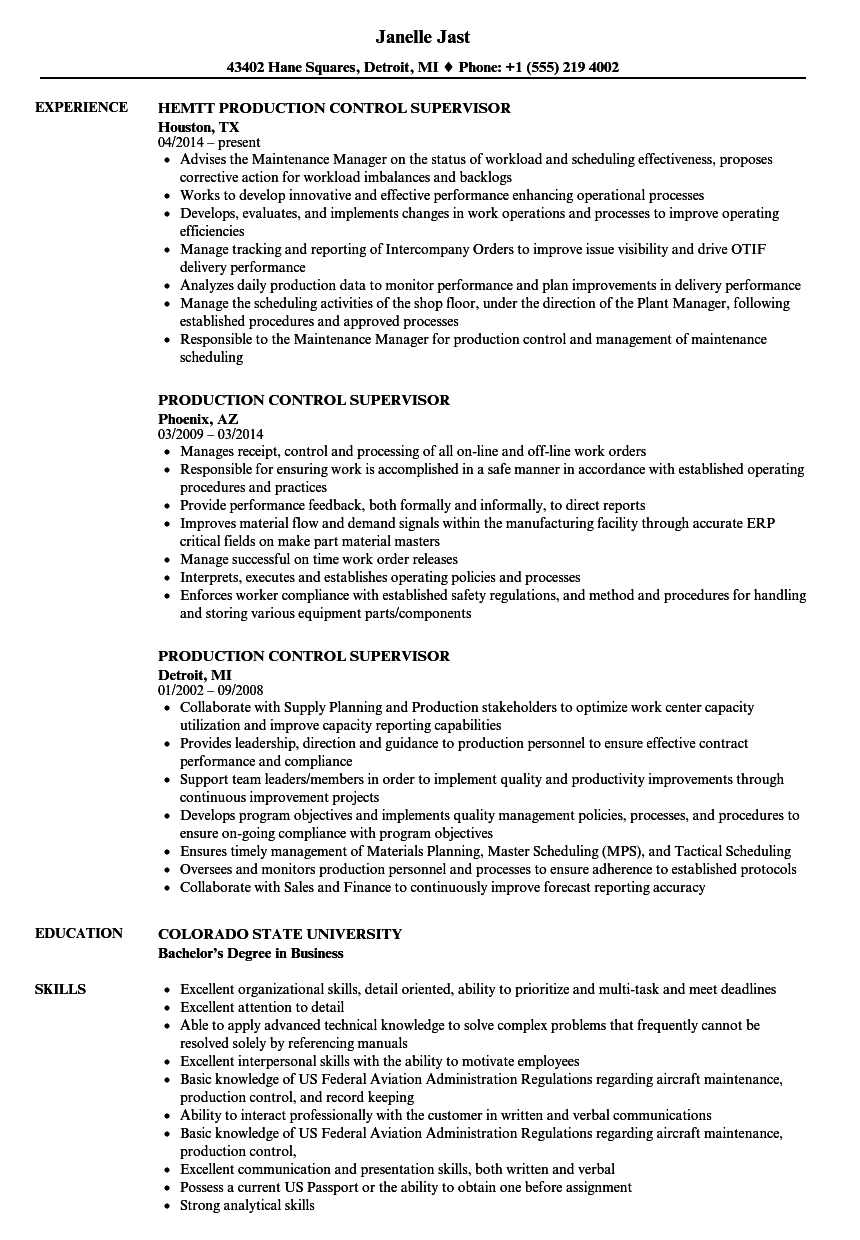 Production Control Supervisor Resume Samples Velvet Jobs