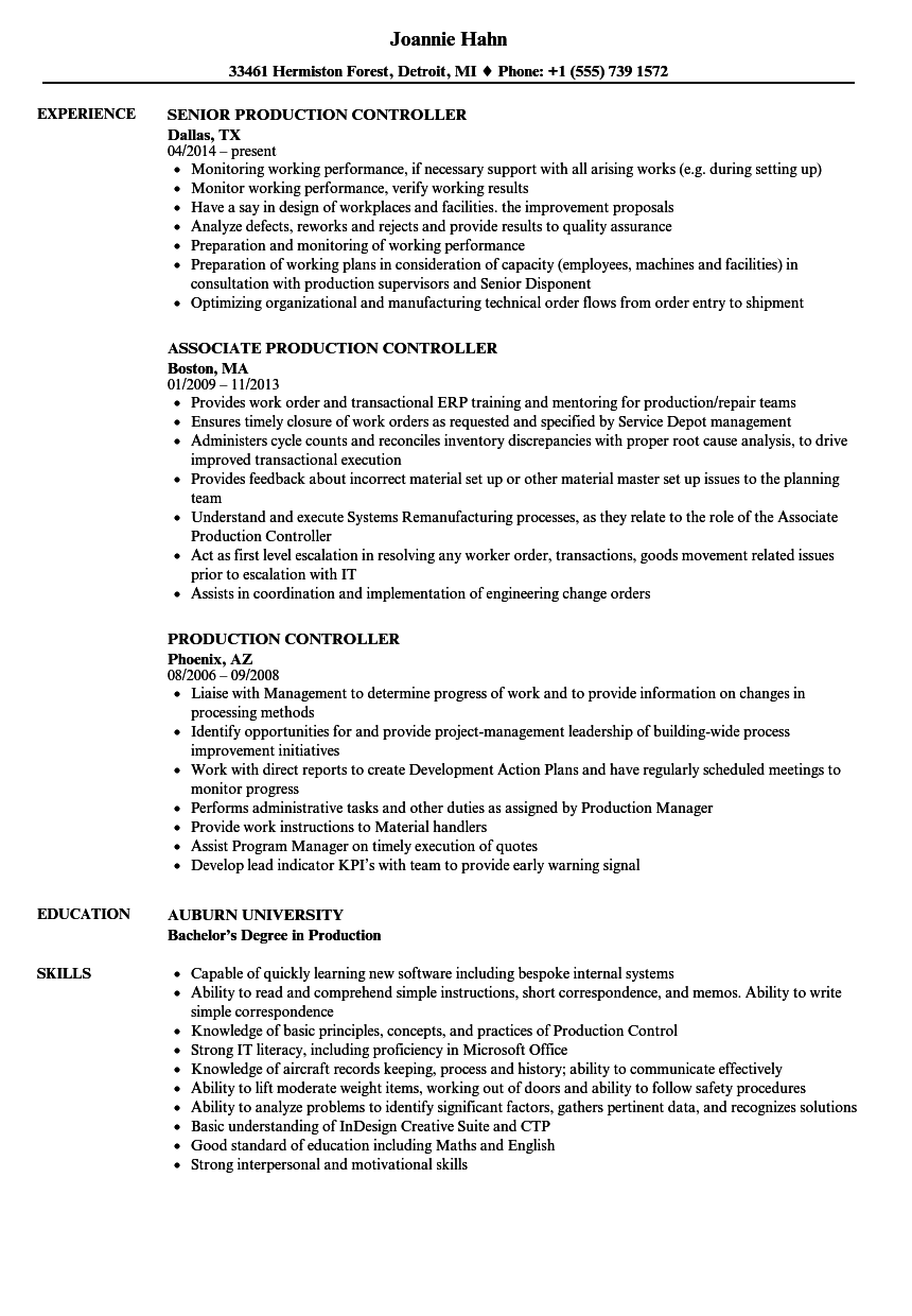 Production Controller Resume Samples Velvet Jobs
