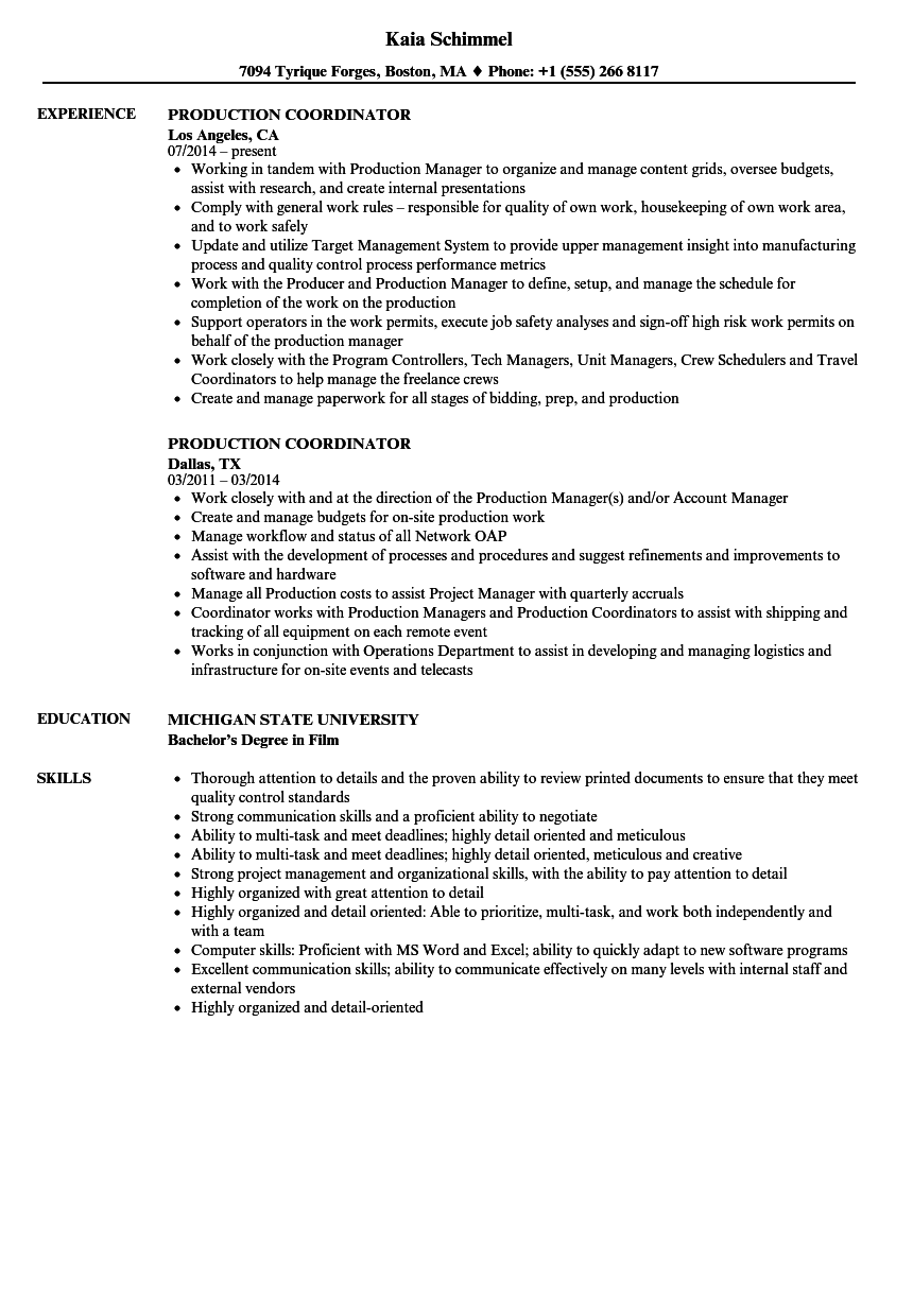 Production Coordinator Resume Samples   Velvet Jobs