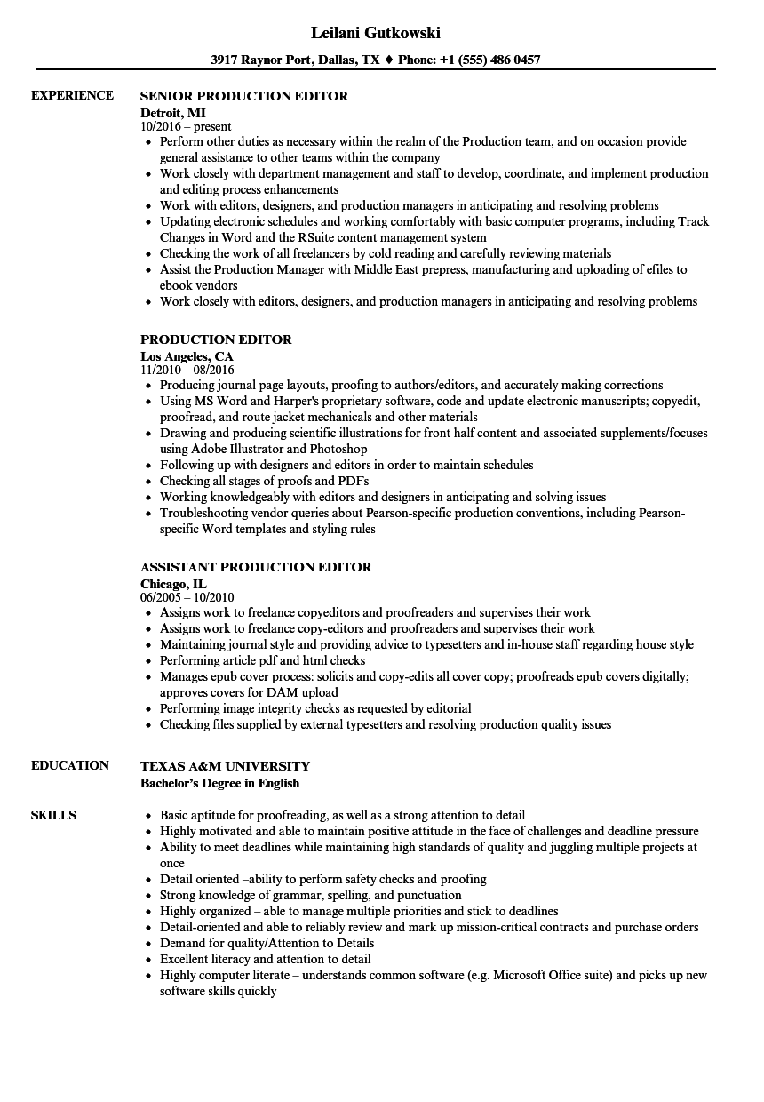 Download Production Editor Resume Sample As Image File