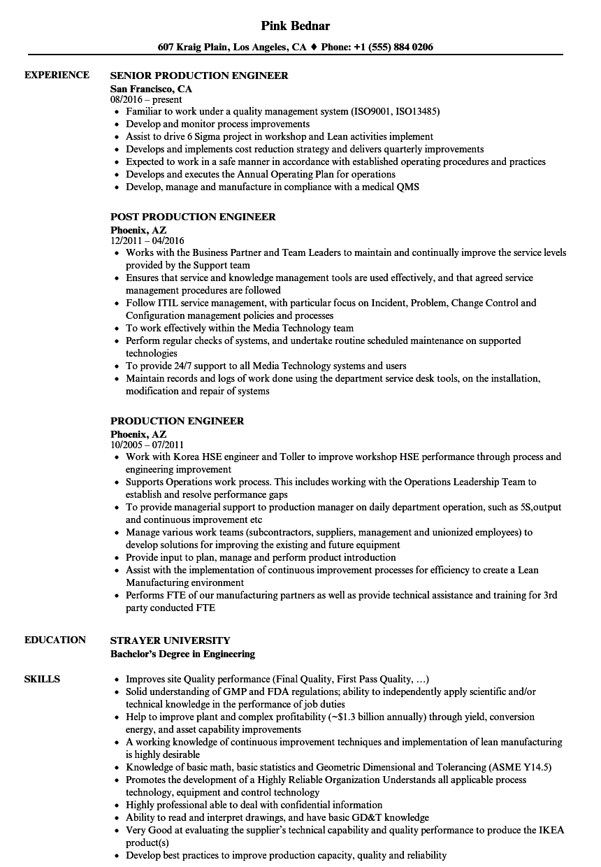 production engineer resume samples velvet jobs