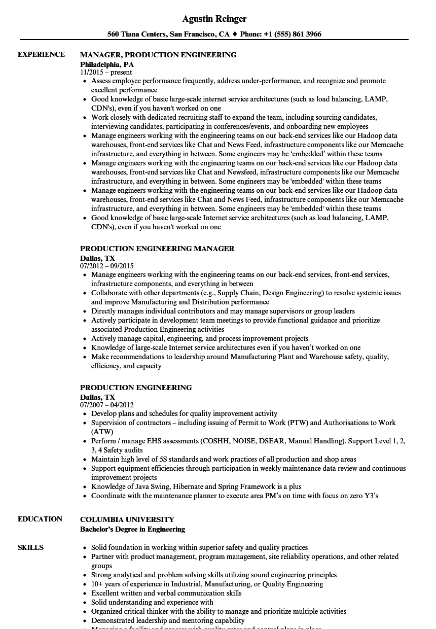 Production Engineering Resume Samples | Velvet Jobs