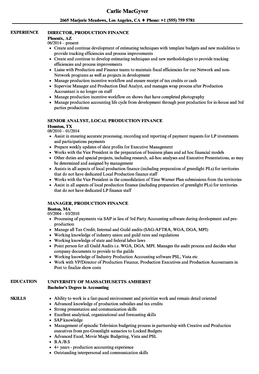 Download Production Finance Resume Sample As Image File  Skills Resume Samples