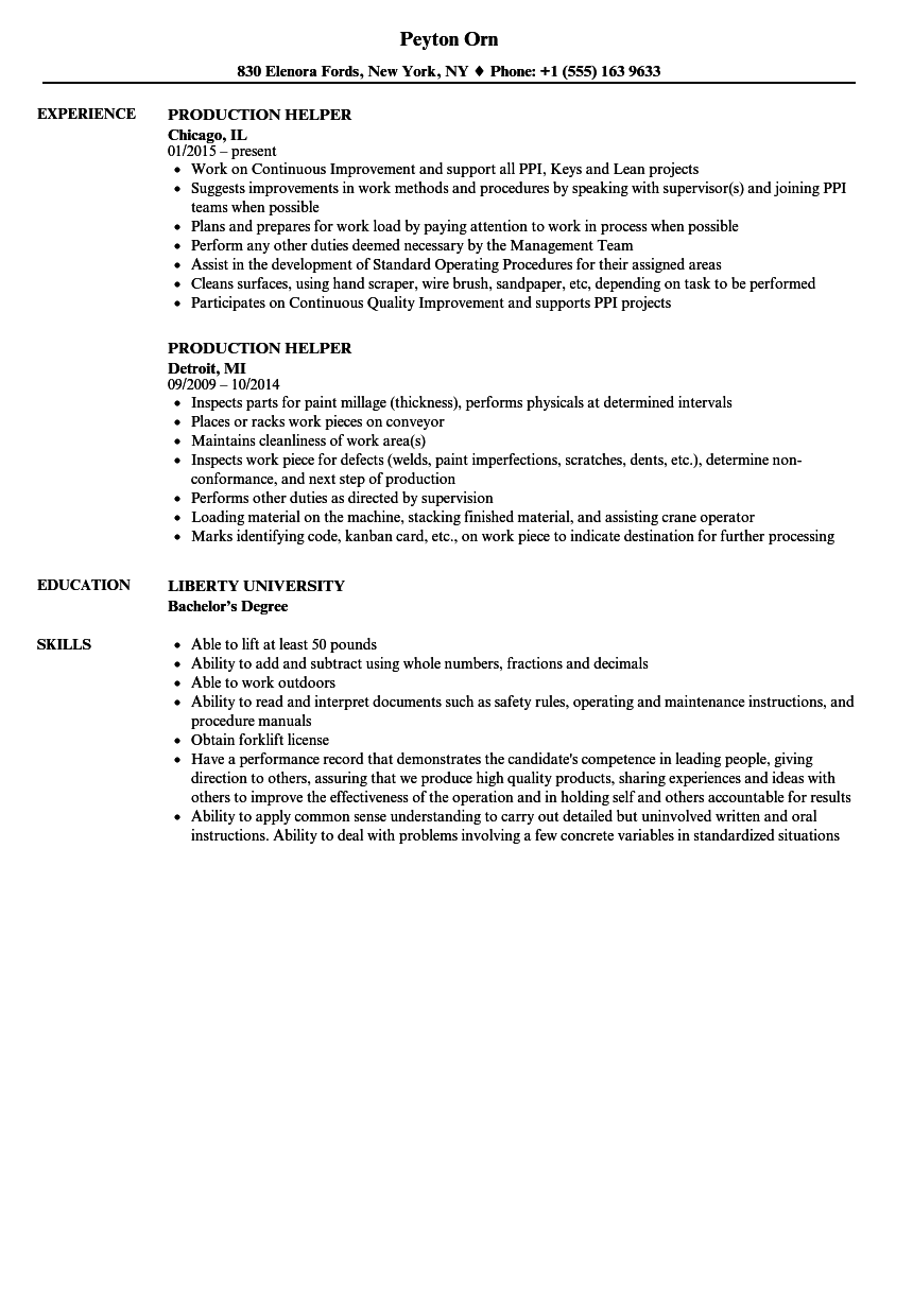 Download Production Helper Resume Sample As Image File