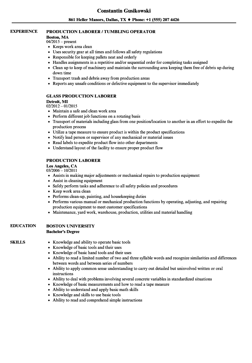 production laborer resume samples