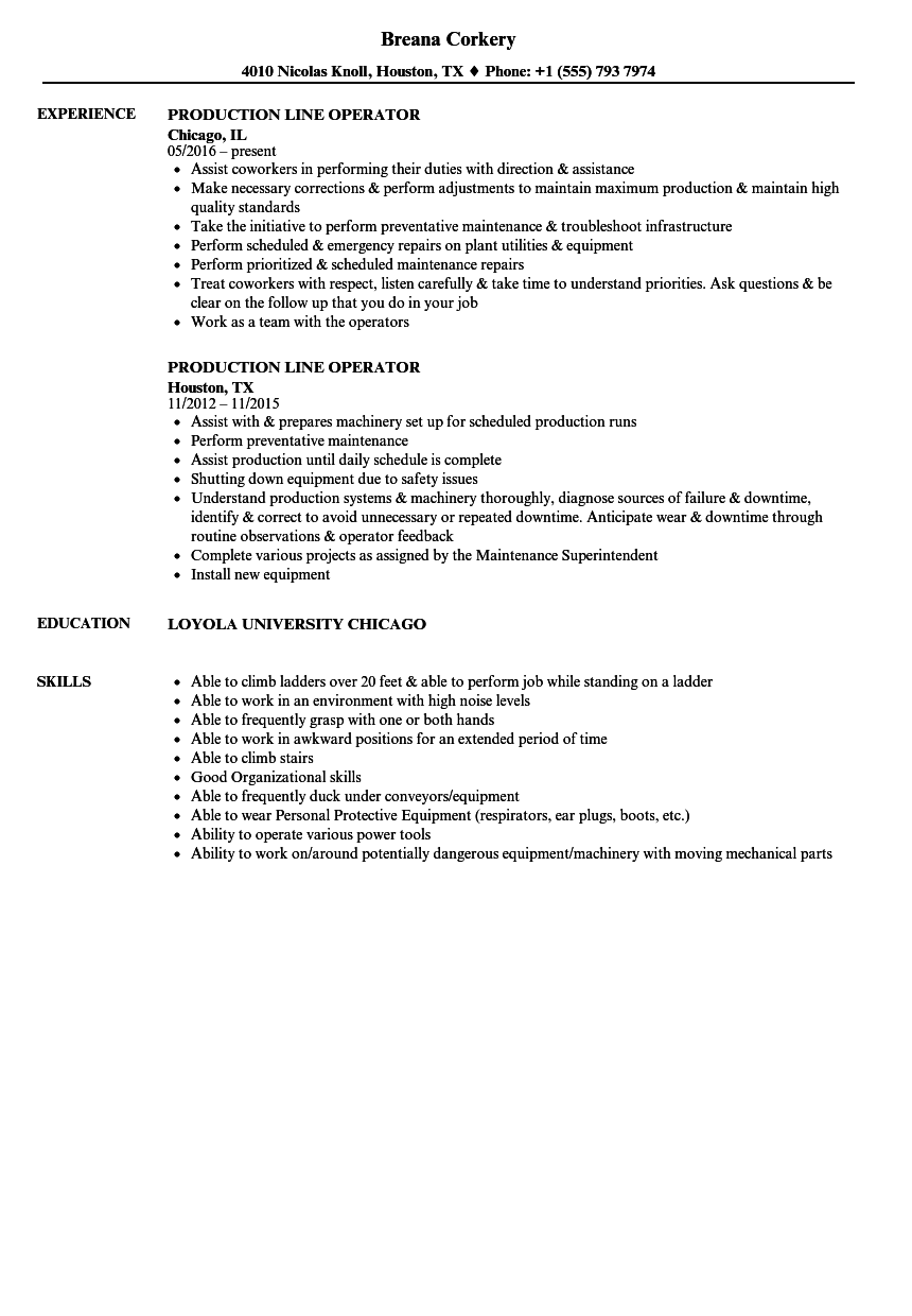 Download Production Line Operator Resume Sample As Image File