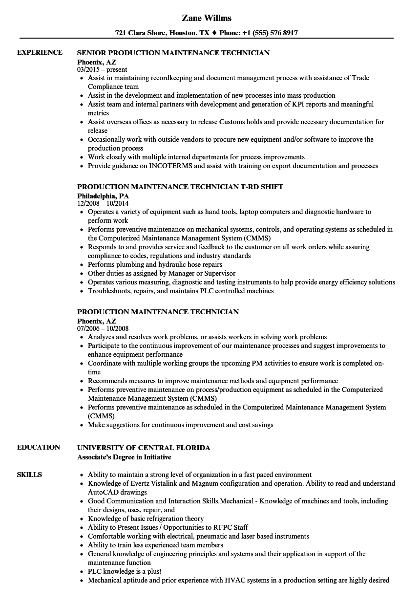 Production Maintenance Technician Resume Samples Velvet Jobs