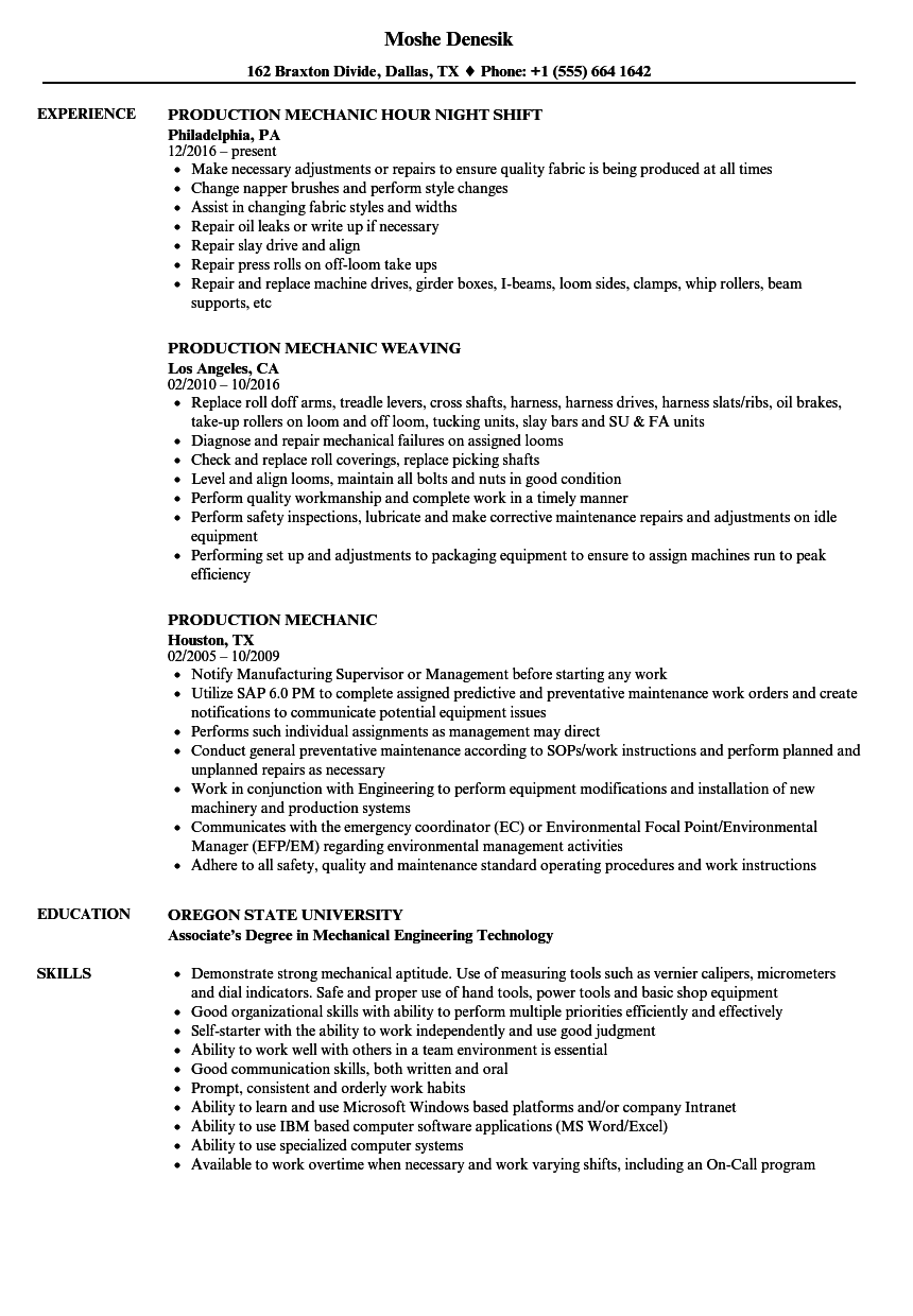 Production Mechanic Resume Samples | Velvet Jobs