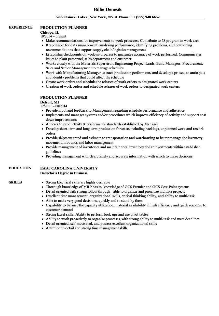 Production Planner Resume Samples | Velvet Jobs