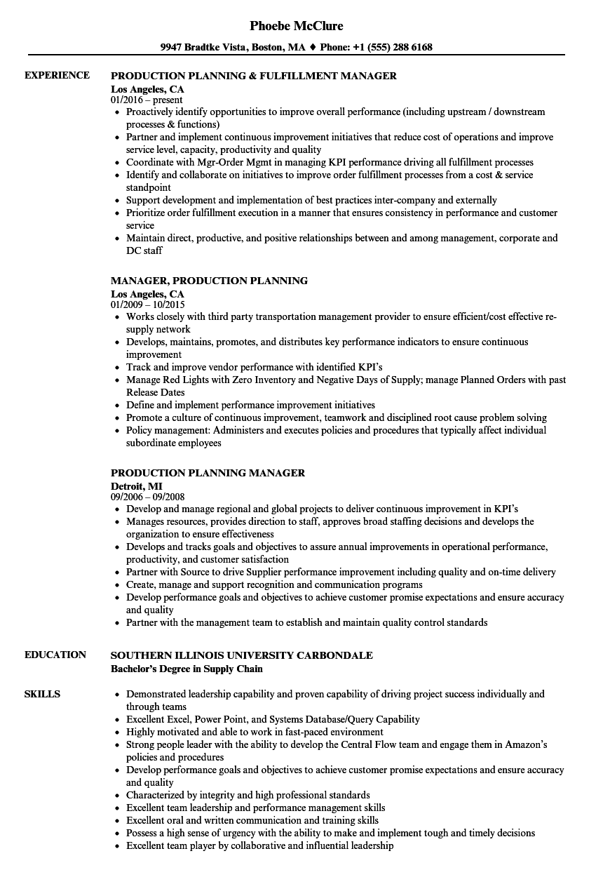 Production Planning Resume Samples | Velvet Jobs