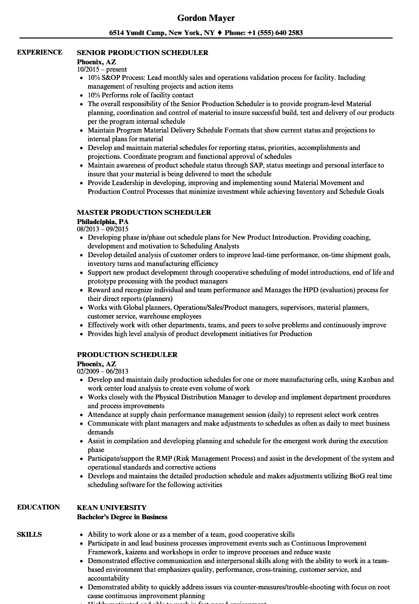 Production Scheduler Resume Samples | Velvet Jobs
