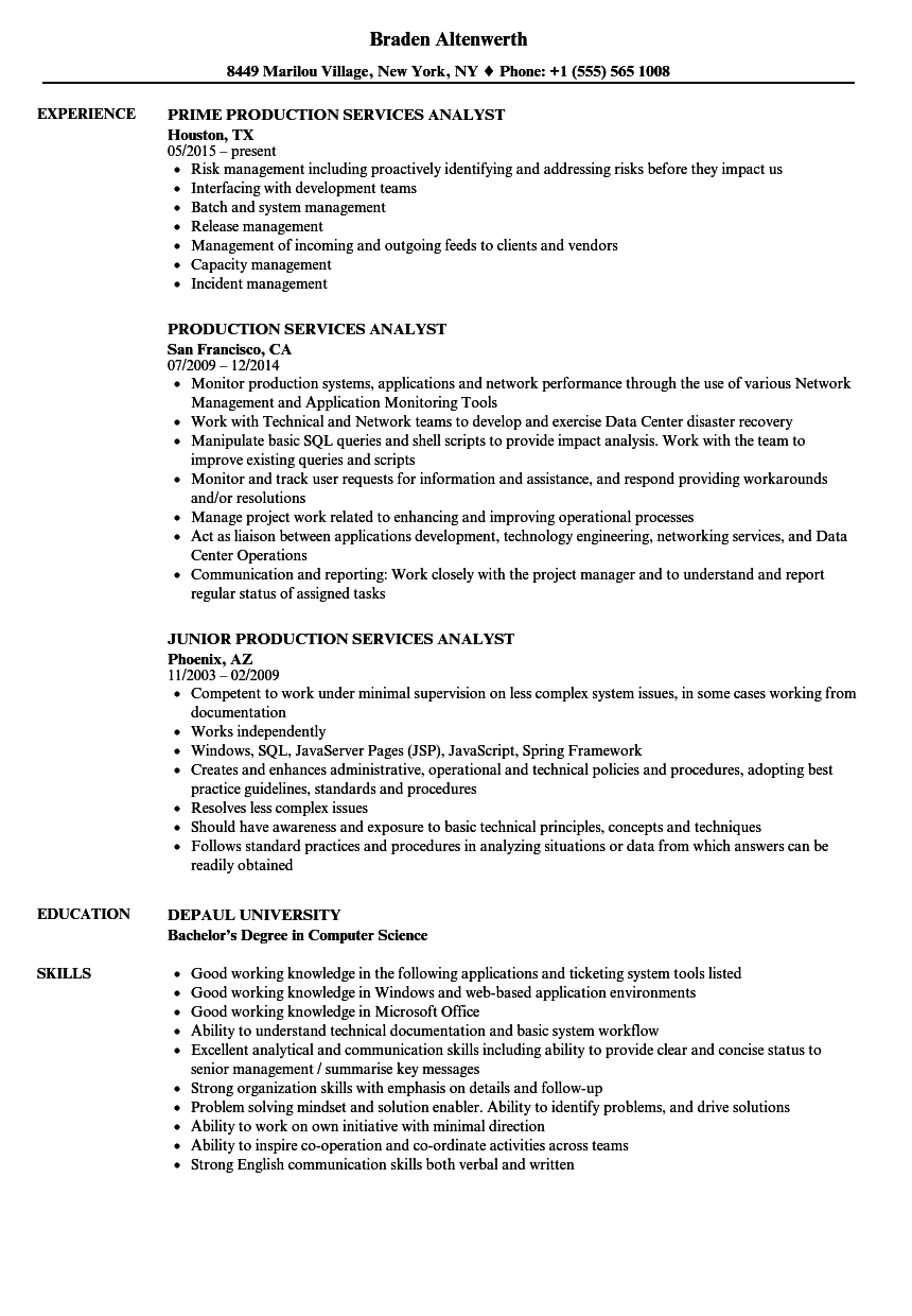 production services analyst resume samples