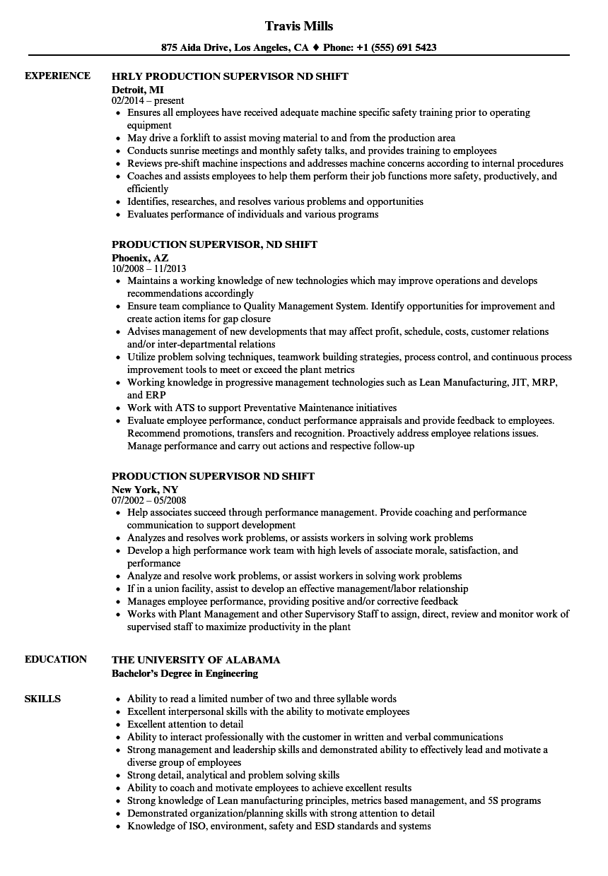 production supervisor 2nd shift resume samples