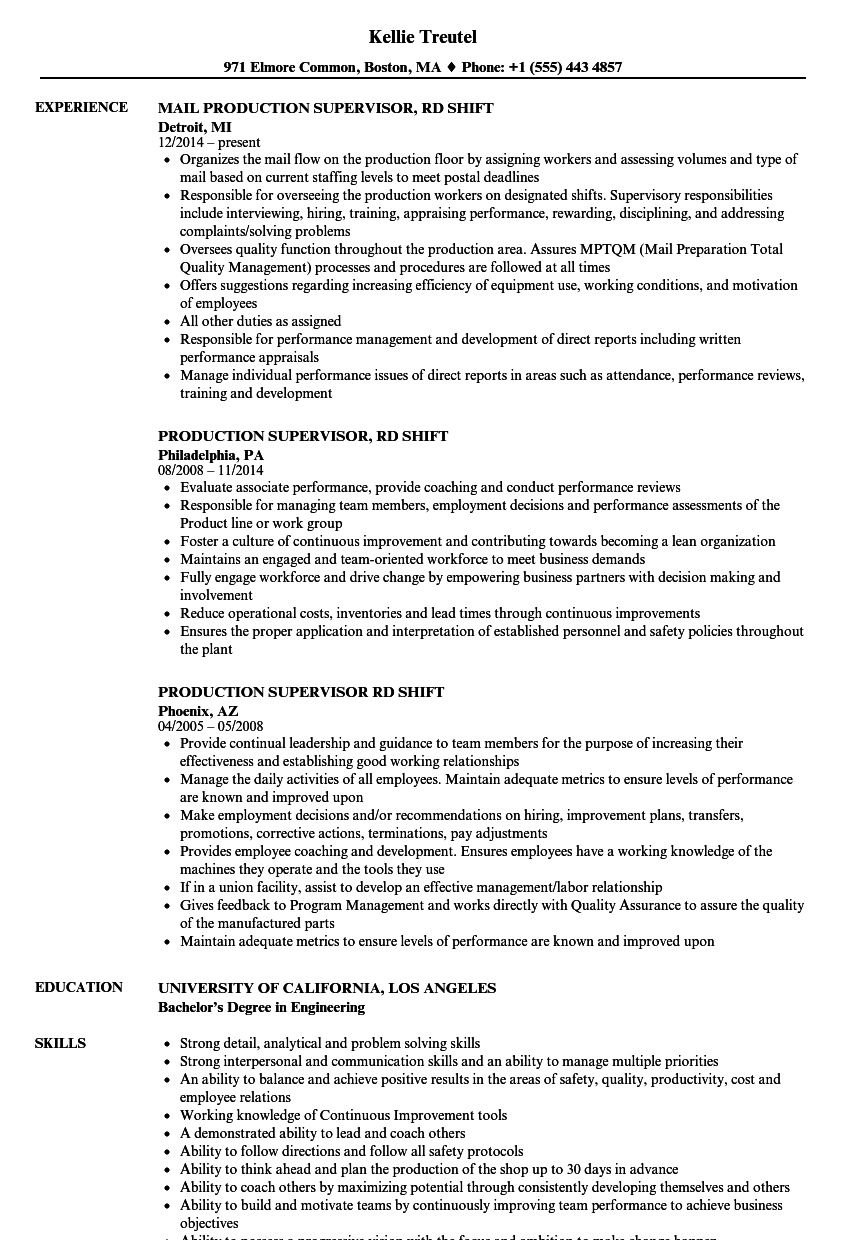 production supervisor 3rd shift resume samples