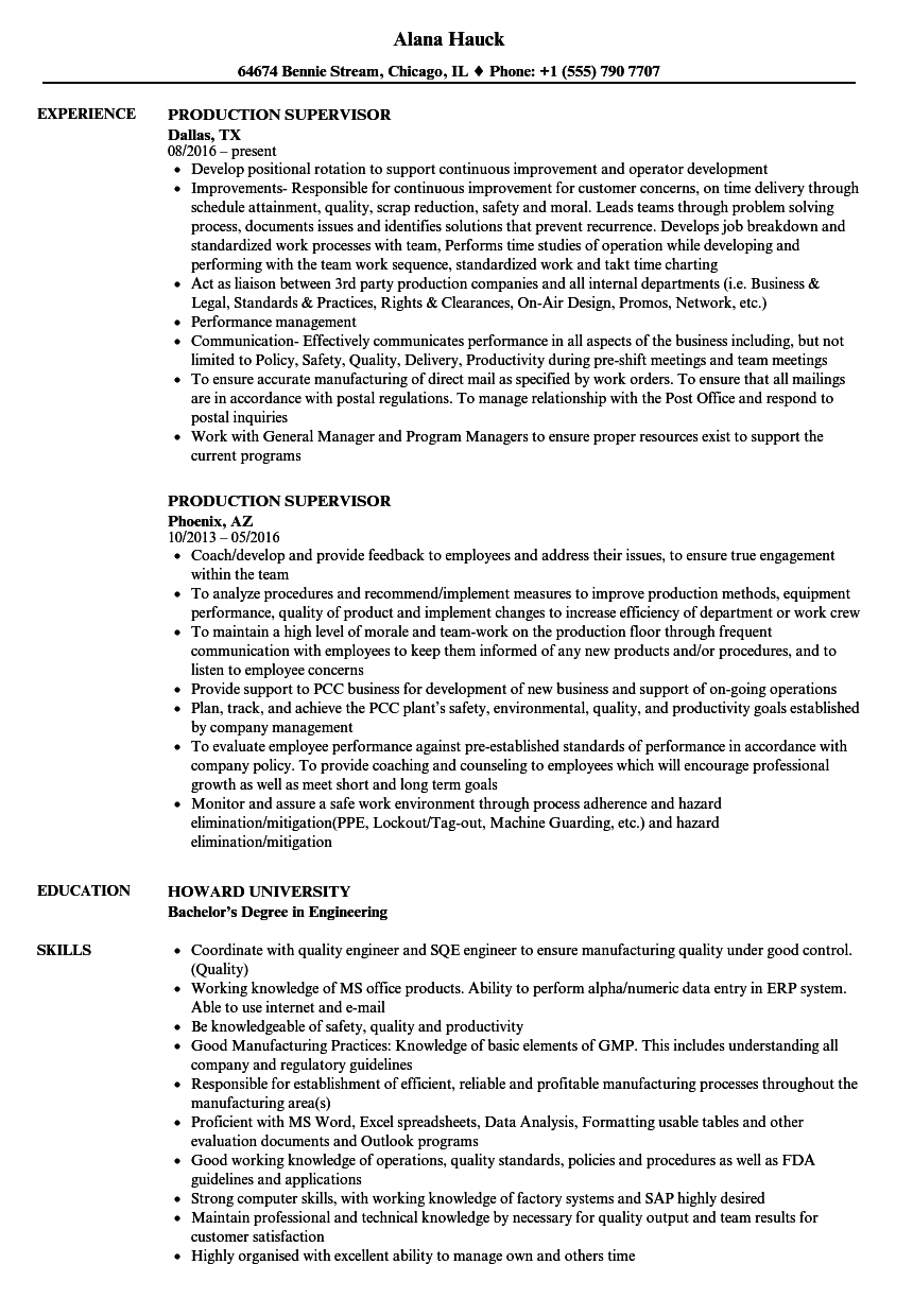 Production supervisor resume samples velvet jobs for Resume samples for supervisor positions