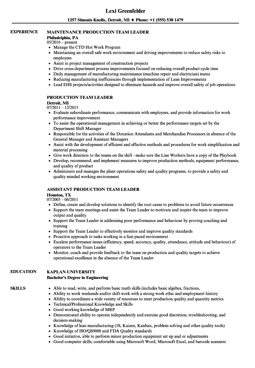 Production Team Leader Resume Samples | Velvet Jobs