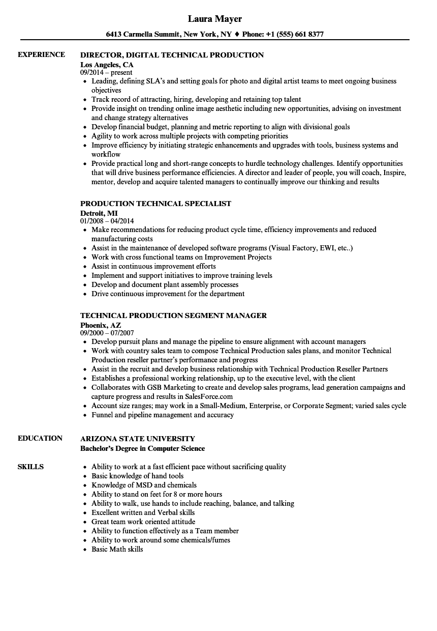 production technical resume samples