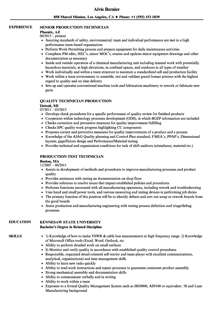 Production Technician, Production Technician Resume Samples | Velvet ...