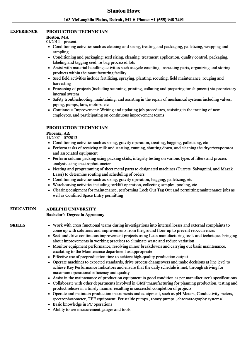 Production Technician Resume Samples | Velvet Jobs