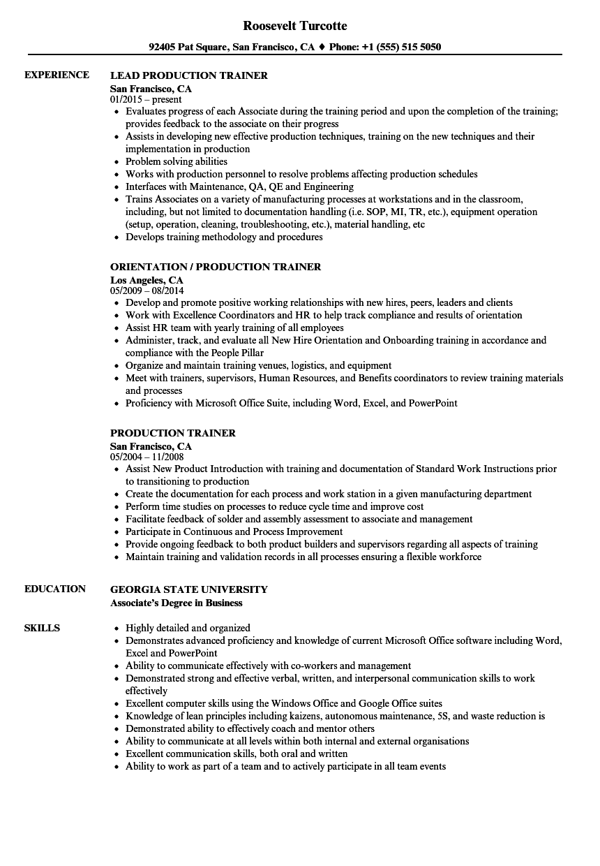 production trainer resume samples