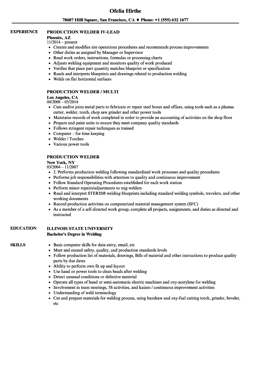 Production Welder Resume Samples Velvet Jobs