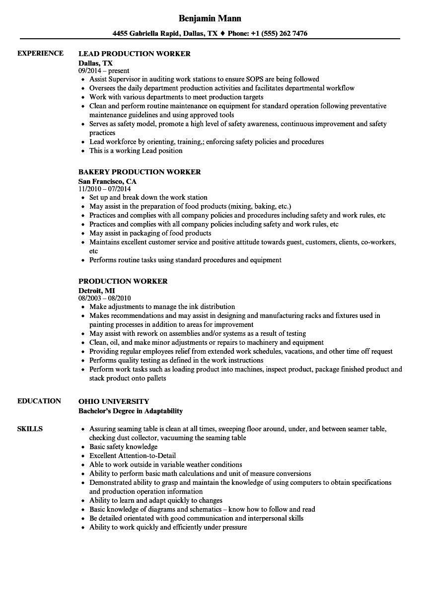 Production Worker Resume Samples | Velvet Jobs