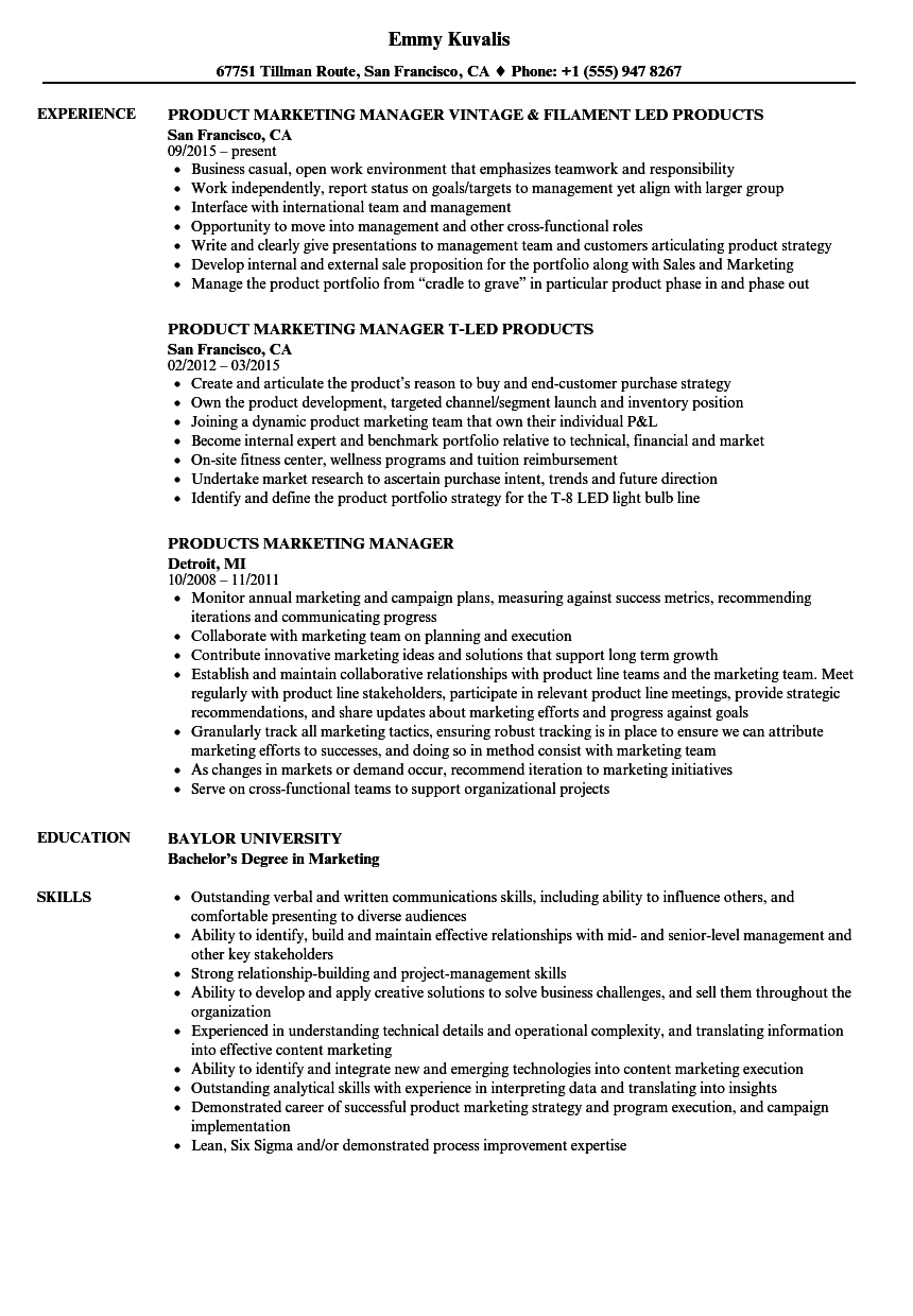 Products Marketing Manager Resume Samples Velvet Jobs