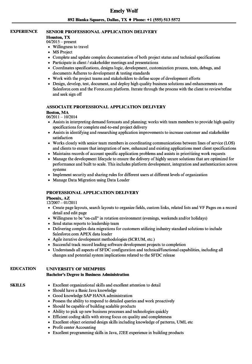 professional application delivery resume samples