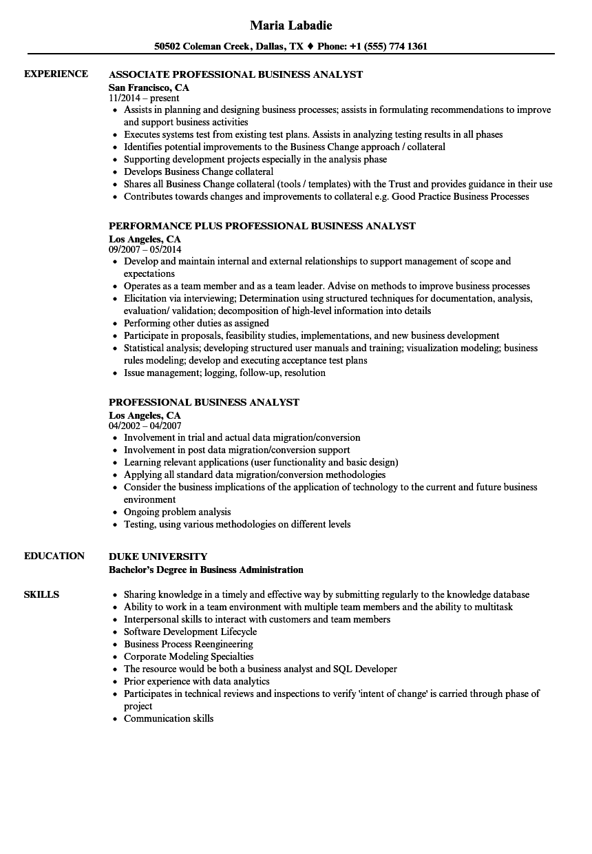 Download Professional Business Analyst Resume Sample As Image File