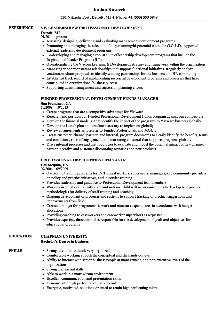 professional development cv sample
